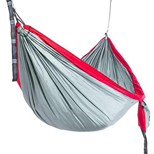 Camping Hammock - Portable Hammock - Bonus Compression sack. 25% wider than Single Hammocks. Parachute Hammock Ripstop provides safe fun and bed-like comfort for camp, beach, travel, backyard fun.