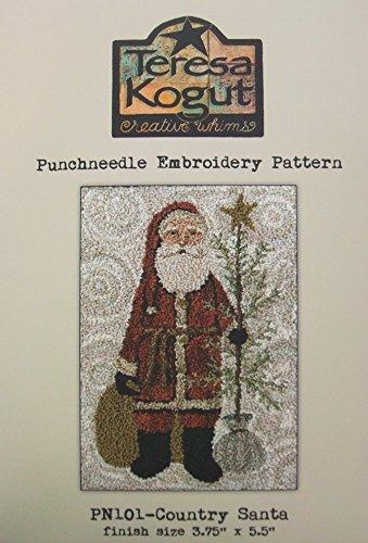 Country Santa Christmas Tree Punchneedle Punch Needle Embroidery Teresa Kogut Pattern (Country Needle Embroidery)