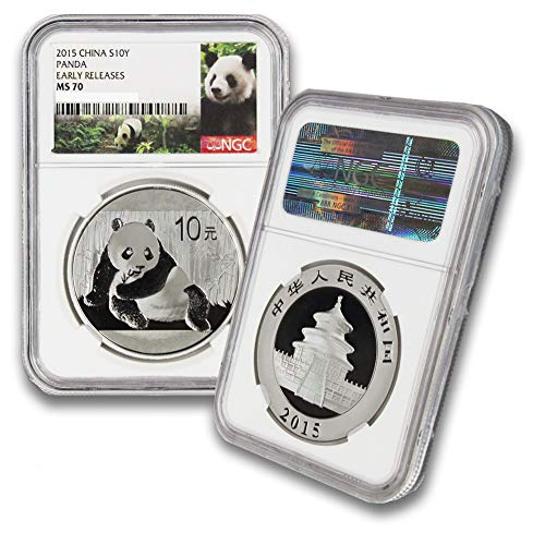2015 CN 1oz Chinese Silver Panda Coin 10Yn MS70 NGC Early Releases-Panda Label