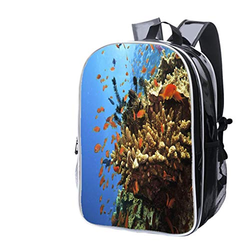 (High-end Custom Laptop Backpack-Leisure Travel Backpack Coral Colony and Soldier Fish on Great Barrier Reef Australia Water Resistant-Anti Theft - Durable -Ultralight- Classic-School-Black)