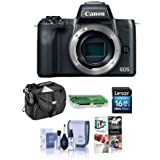 Canon EOS M50 Mirrorless Digital Camera Body Black - Bundle 16GB SDHC Card, Camera Case, Cleaning Kit, Card Reader, Pc Software Package