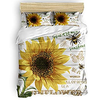 Image of 4 Pieces Duvet Cover Set King Size Sunflower You Are My Sunshine My Only Sunshine Bumblebee Butterfly on Wooden Board Bedding with Soft Lightweight Microfiber 1 Duvet Cover,1 Bed Sheet,2 Pillowcases Home and Kitchen