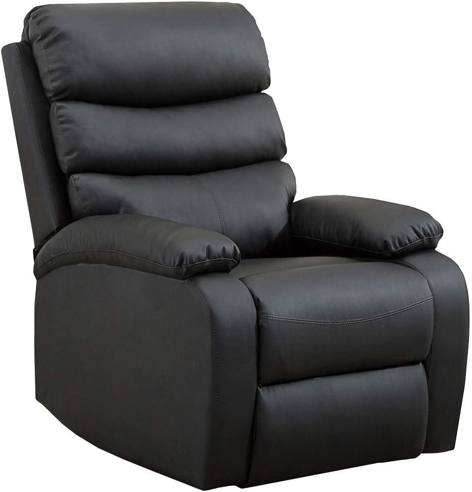 Sillón Relax Extra Acolchado Negro. Reclinable, Masaje y Calor Lumbar, con Mando, 8 Motores, 4 Zonas de Masaje, 5 Modos, Fácil de Limpiar
