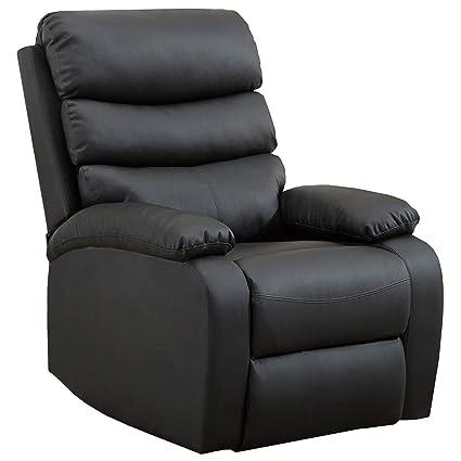 Gridinlux. Sillón Relax Extra Acolchado Negro. Reclinable, Masaje y Calor Lumbar. 8 Motores, 4 Zonas de Masaje, 5 Modos.