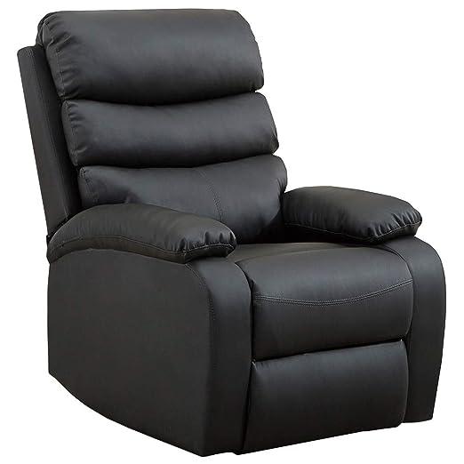gridinlux. Sillón Relax Extra Acolchado Negro. Reclinable, Masaje y Calor Lumbar, con Mando, 8 Motores, 4 Zonas de Masaje, 5 Modos, Fácil de Limpiar