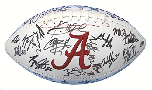 (Alabama Crimson Tide 2015 National Champions Team Signed Autographed White Panel Logo Football PAAS COA Saban Henry Ridley)
