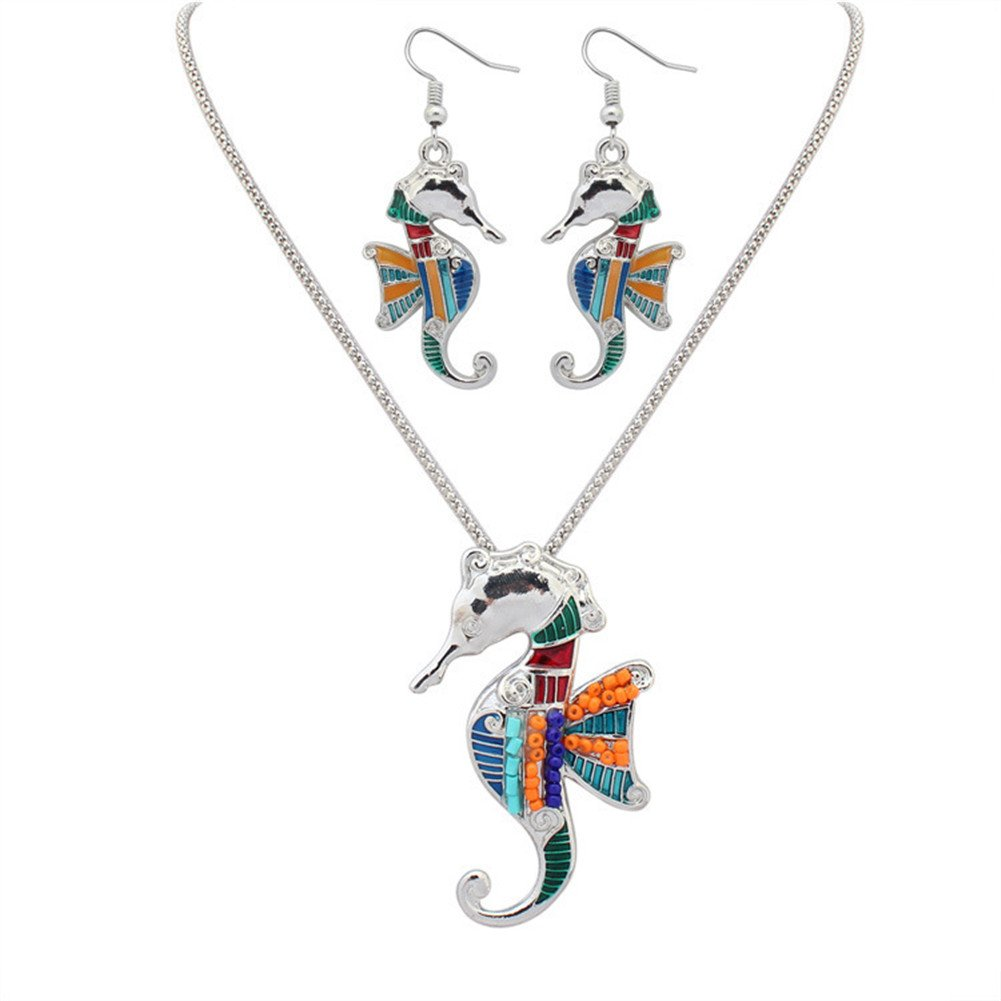 YJEdward 18K Gold Plated Rainbow Seahorse Jewelry Set Necklace Earrings Gift For Her 2 Pcs