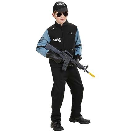 Amakando Disfraz policía Chico Traje SWAT niño L 158 cm años ...