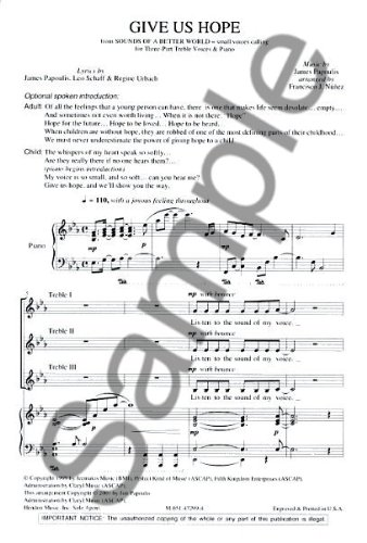 Jim Papoulis: Give Us Hope  Sheet Music for SSA, Piano Accompaniment