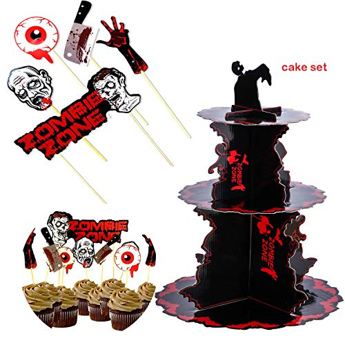 Nurse Zombie Birthday Party Cardboard Cupcake Display Stand, Bloody Toppers Cake Picks Table Dish Decoration Knit Gifts - Fruit Dessert Paper Cupcake Stick Decor, Cupcake Holder for Kids Party -