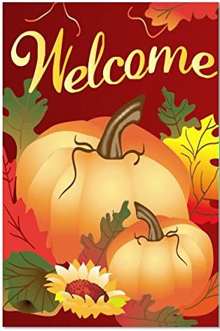 Thanksgiving Fall Autumn Cute Garden Flag Cloth Free Ship New One Sided Outdoor