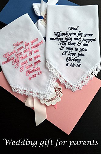 Wedding gift for Mother of the Bride and Father of the Bride from daughter Personalized embroidered handmade handkerchief set Wedding keepsake Personalized hankies Embroidered hanky Navy Pink favours