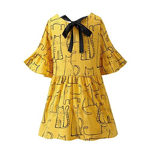 CCatyam Dress for Women, Short Sleeve O-Neck Cute Cat Print Linen Mini Sexy Summer Fashion Yellow ()
