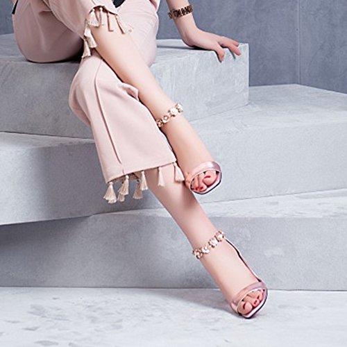 Banchetto Scarpe 6cm Le Partito Powder Estate Alti Donne Decorazione Per Sandali Open Toe Moda Tacchi Tacco Spesso In Pelle Benda OwaxTnUqB