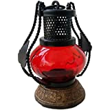 Worthy Shoppee red Wooden & Iron Hand Carved Colored Chimney Lantern Design