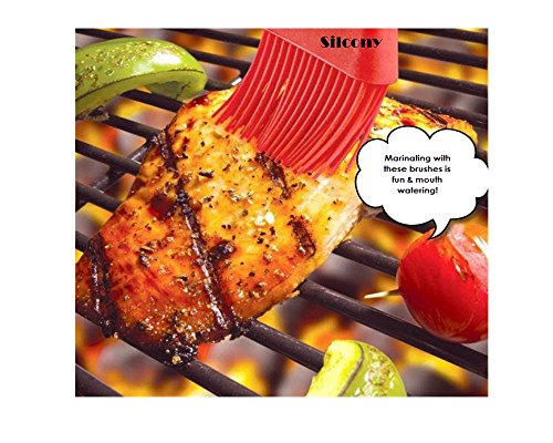 """Silcony 8. 4"""" basting brushes silicone heat resistant bpa free pastry brushes for bbq grill barbeque & kitchen baking set oil brushes soft bristles long handle (3 pack) (3, 8. 4 inches) 2 pure silicone & heat resistant - made of 100% food grade silicone material and bpa free. It can withstand heat up to 40-250 degrees. Soft & strong - comfortable handling with a nice and flexible grip. The metal rod under the silicone handle makes it easy to use for bbq & extreme heat. Also, the long handle will keep you safe from heat pressure. Saftey guaranteed - safe to use in oven, microwave, dishwasher & freezer. The matrial won't melt under any heat pressure and safe to use for bbq, baking, even cooking in a frying pan."""
