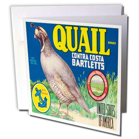- 3dRose Quail Brand Contra Costa Bartletts California with Quail Bird - Greeting Cards, 6 x 6 inches, set of 12 (gc_171122_2)