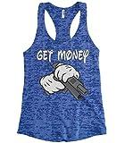Cybertela Women's Get Money Cartoon Glove Gun Gangster Burnout Racerback Tank Top (Royal, Small)