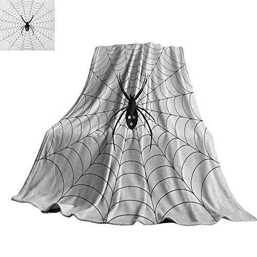 RenteriaDecor Spider Web,Throws Poisonous Bug Venom Thread Circular Cobweb Arachnid Cartoon Halloween Icon Custom Blankets 80