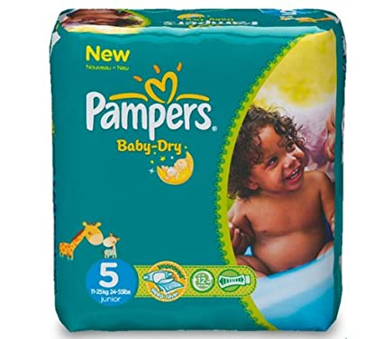 PAMPERS Pañales Baby-Dry Talla 5 Junior (11-25 kg) - Pack