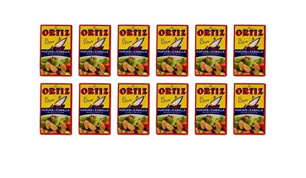Huevas de Caballa Aceite Oliva Ortiz 12x120g (CAJA 12 LATAS): Amazon.es: Alimentación y bebidas