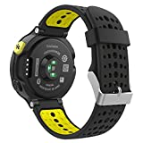 Garmin Forerunner 235 Accessories, MoKo Soft Silicone Replacement Watch Band with Tools for Garmin Forerunner 235 / 220 / 230 / 620 / 630 / 735 Smart Watch - BLACK & YELLOW