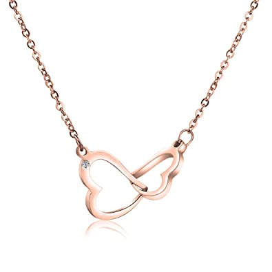 7cb868b72 WUSUANED Stainless Steel Interlocking Double Hearts Pendant Necklace Gift  for Women Girls (2 hearts necklace