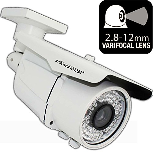 (Ventech HD 1000TVL ((72 IR LED)) Awesome Quality Video CCTV cmos 960h Bullet Camera Home Security Day/Night Infrared 72IR Night Vision Indoor Varifocal 2.8mm-12mm)