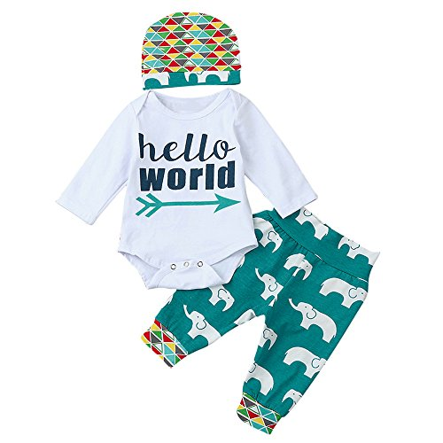 White Garçon Chshe Ensemble Tenues Bébé Pantalon Long World Cartoon Vêtements Lettre Romper 3pcs Chapeau De Fille animal Hello Tops SSUrq54nxw