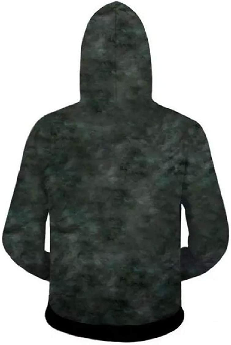Spirio Mens 3D Printed Hooded Casual Zip-Up Pockets Sweatshirt Jacket