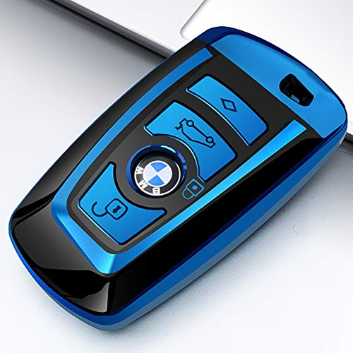 Uxinuo for BMW Key Fob Cover, Full Protection Soft TPU Key Fob Case Compatible with BMW 1 3 4 5 6 7 Series and X3 X4 M5 M6 GT3 GT5 Keyless Remote Control Smart Key Fob, Blue ()