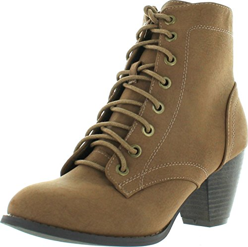 - Top Moda Women's Scan-4 Cuban Heel Mid-Height Lace Up Ankle Boot,Tan,8