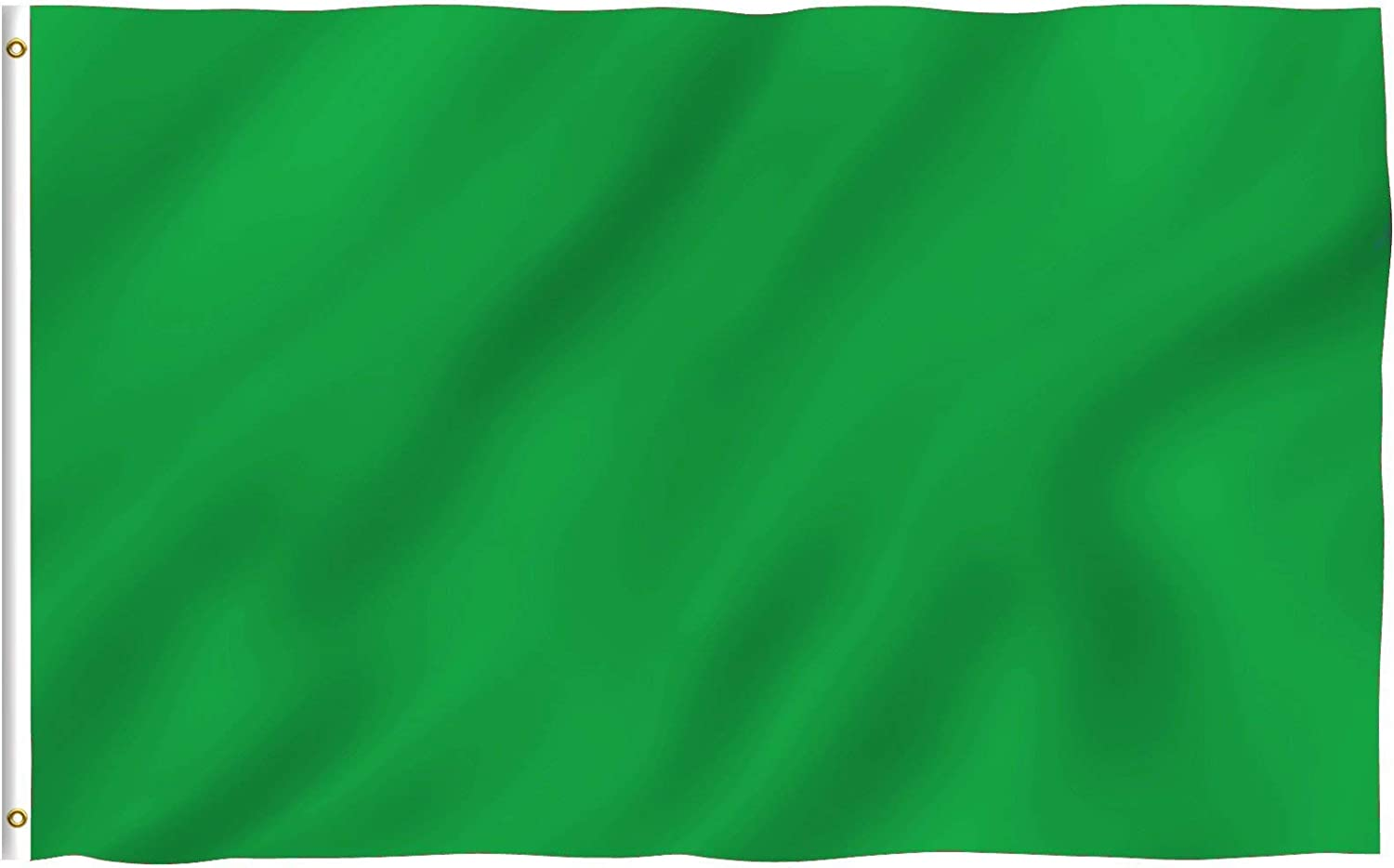Anley Fly Breeze 3x5 Foot Solid Green Flag - Vivid Color and Fade Proof - Canvas Header and Double Stitched - Plain Green Flags Polyester with Brass Grommets 3 X 5 Ft