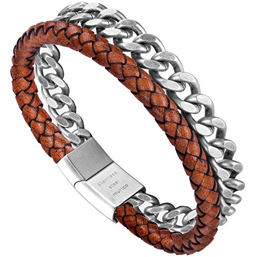 murtoo Mens Bead Leather Bracelet, Blue and Brown Bead and Leather Bracelet for Men (Orange)