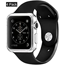 [4pack]Case for Apple watch Series 1/Original(2015), CaseHQ i watch tpu all-around protective 0.3mm hd clear ultra-thin cover case for apple watch series 1/ Original (2015) (38mm)-Clear