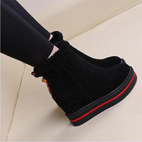 KHSKX-Europeos Y Americanos De La Felpa De Las Mujeres Botas De Tacon Botas Con Suelas Gruesas Redondeadas Tacones Warm Cotton Botas Zapatos De Mujer black
