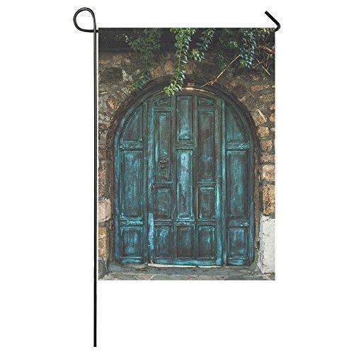 Fantasy Design Blue Wooden Door Garden Flag Banner 28 x 40 I
