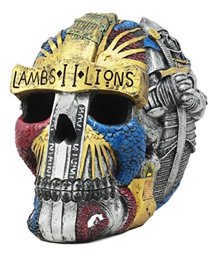 Ebros Knights Of Templar Lambs To Lions Skull Statue Crusader Knights Of The Order Of Solomon Skeleton Cranium Figurine