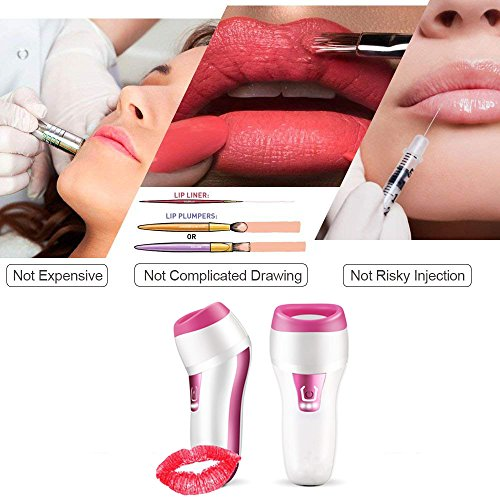 Electric Lips Plumper,Automatic Lip Plumping Tool 3 Min Fastly Fuller Lips Changeable Oval & Round Lip Plumps Devices Heads by FERNIDA (Image #1)