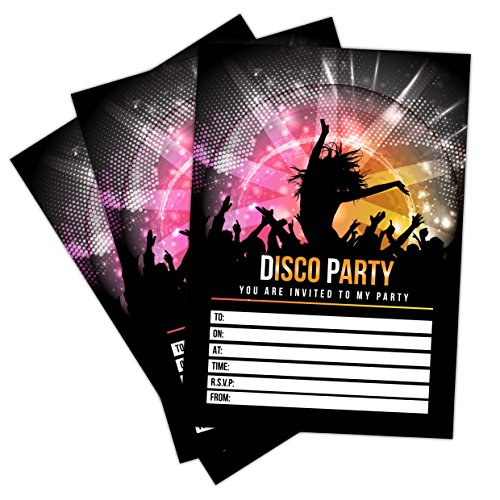 with C6 Envelopes Option Kids child Adult Girls Boys Birthday Party Invites Cards Only Invites Invitations 20 x Disco Party Invites