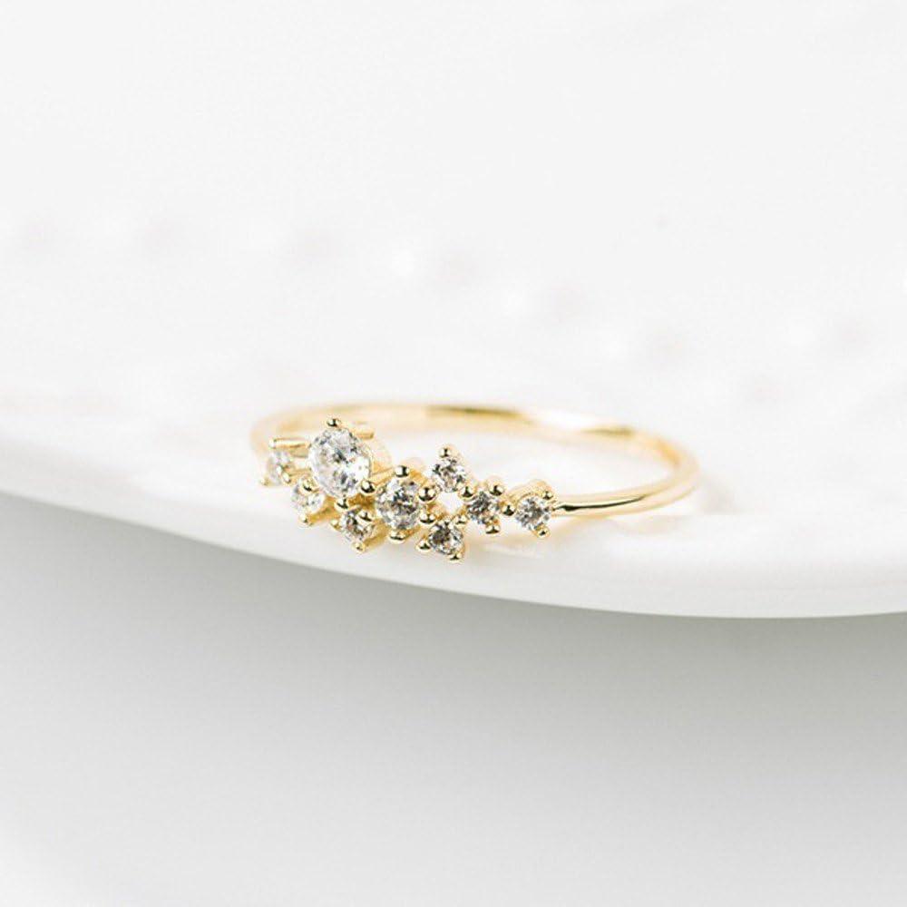 Haluoo Statement Rings Crystal Simple 3 Diamonds Flower Ring Cubic Zirconia CZ Diamond Eternity Engagement Wedding Band Ring for Women Girls