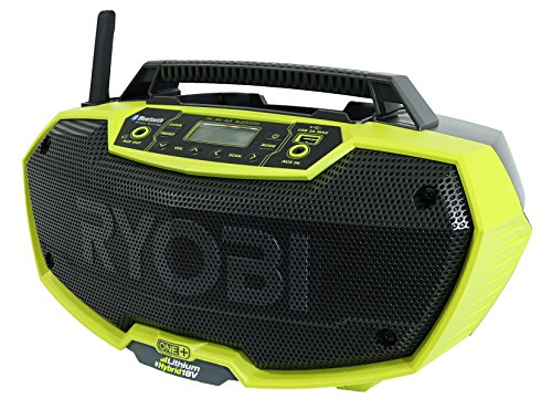 Ryobi P746 One+ 18-Volt Lithium Ion / AC Dual-Powered AM/FM Stereo System with USB and Bluetooth Technology (Battery, Charger, and Extension Cord Not Included / Radio Only) ()