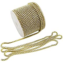 yueton 11 Yards Crystal Rhinestone Close Chain Trimming Claw Chain Jewelry Crafts DIY (Gold)