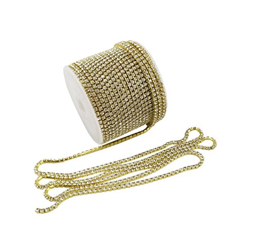 New yueton 11 Yards Crystal Rhinestone Close Chain Trimming Claw Chain Jewelry Crafts DIY (Gold)