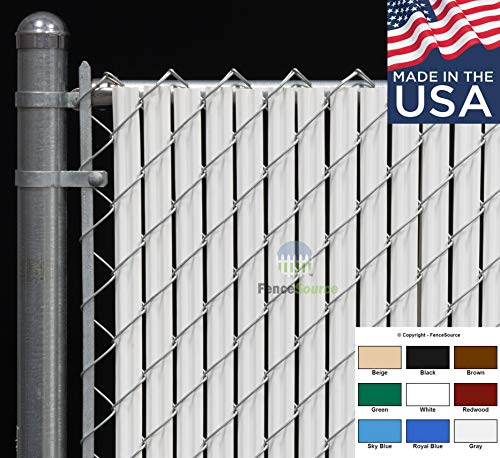 Fence Source Wave SlatTM (9 Colors) Single Wall Bottom Locking Privacy Slat for 4', 5', 6', 7' and 8' Chain Link Fence (6 ft, White)