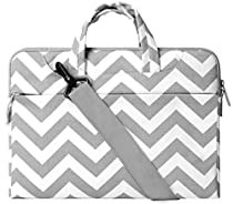 Mosiso Chevron Style Fabric Sleeve Case Cover Bag with Shoulder Strap for 15-15.6 Inch MacBook Pro, Notebook Computer, Gray