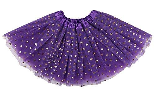 ThunderCloud Kids Princess Costume Girl's Tulle Ballerina Tutu Skirt,Purple/Star ()