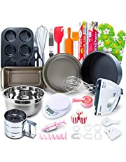 Baking Set for kids and adults - (60 PCS SPECIAL BAKERY EQUIPMENT AND TOOLS) With Hand Mixer, BONUS Recipe Guide, Cake Pans, and More Utensils! Create STUNNING Cakes w/the Cake kit!