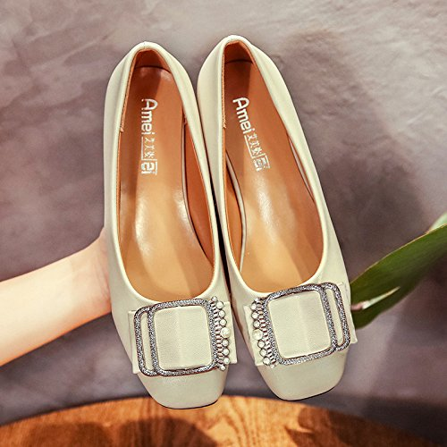 XX&GXM XX&GXM XX&GXM Women's Shoes Ladies with shallow mouth shoe rough documentary,8621 meters white,39 B074FTYQ5D Parent aa5113