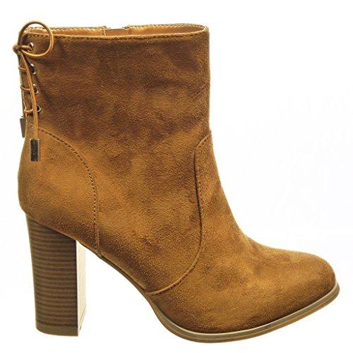 Forrada De Alto Talón Mujer Plantilla Botines Cm Zapatillas Nodo Piel Camel Moda 9 Low Angkorly Ancho Tacón Boots wvx6qCZq4